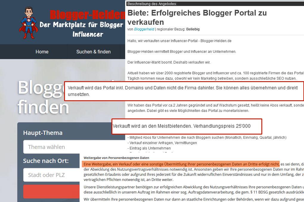 Bloggerhelden-Verdacht-Datenhandel