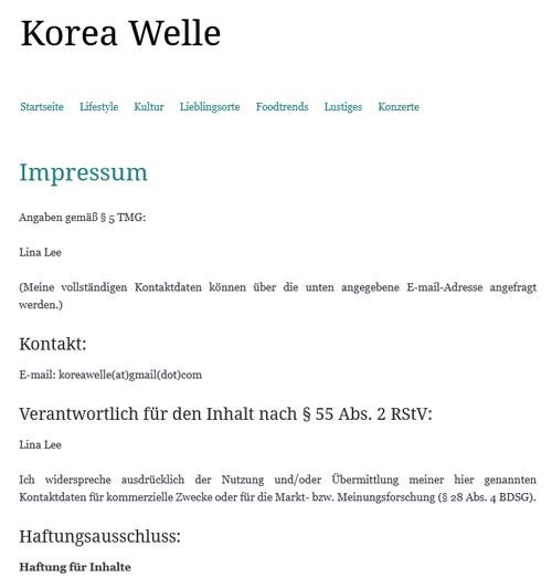 Koreawelle-Impressum