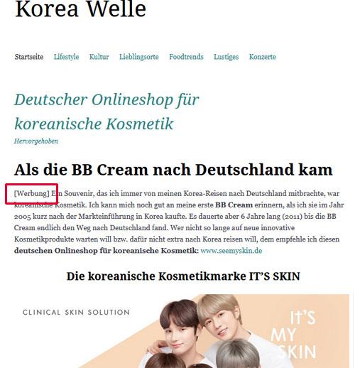 Koreawelle-Werbemarkierung